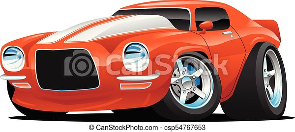 Classic Muscle Car Cartoon Illustration - csp54767653