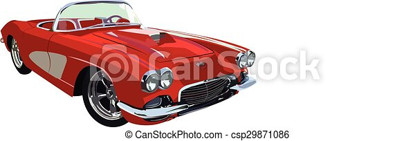 classic-muscle-car, piros - csp29871086