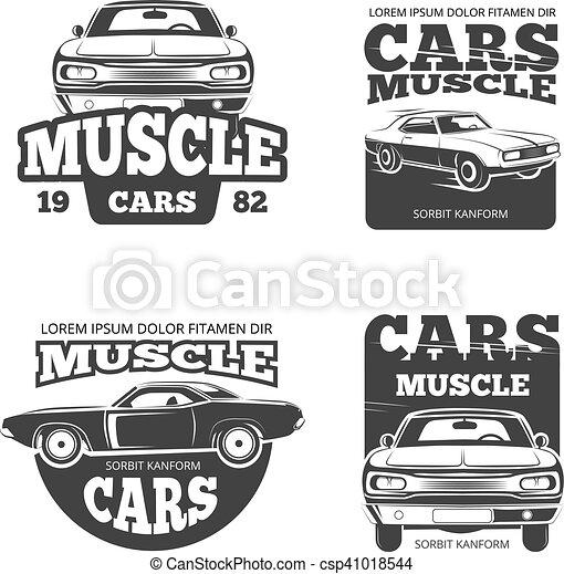 Classic muscle car vintage vector labels, logo, emblems, badges ...