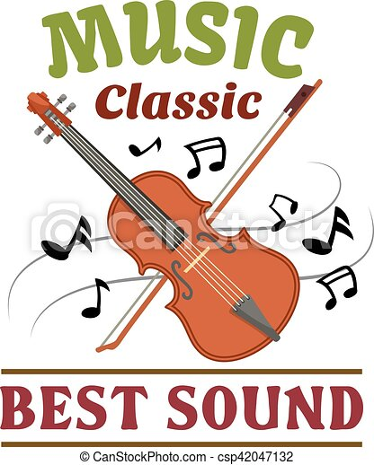 Classic Music Sign With Violin Bow And Note Classic Music Badge Of