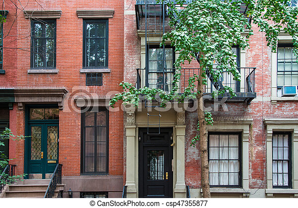 Classic New York Apartment Buildings In Greenwich Village   Csp47355877