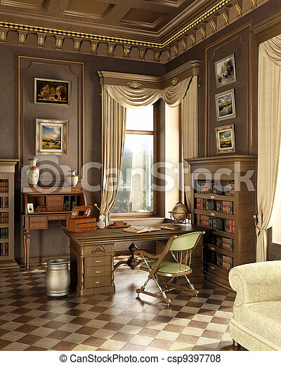Classic old studio room. - csp9397708