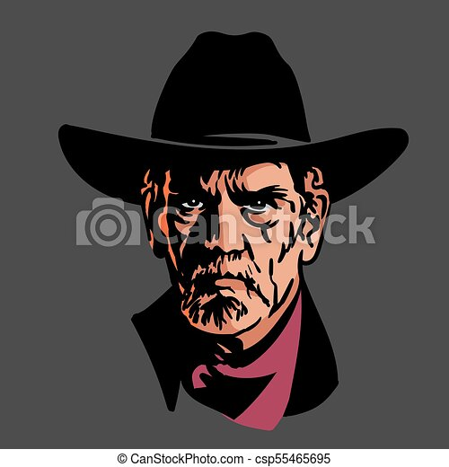 Classic old western style cowboy with hat and bandana. Cartoon sketch  style. - csp55465695 74006f71382