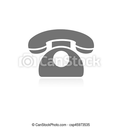 Classic phone icon with reflection on a white background - csp45973535