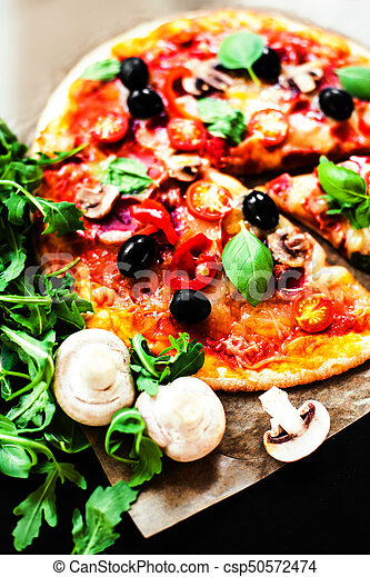 Classic Pizza With Pepperoni Sausage And Cheese In A Rustic Italian Style On Dark Background
