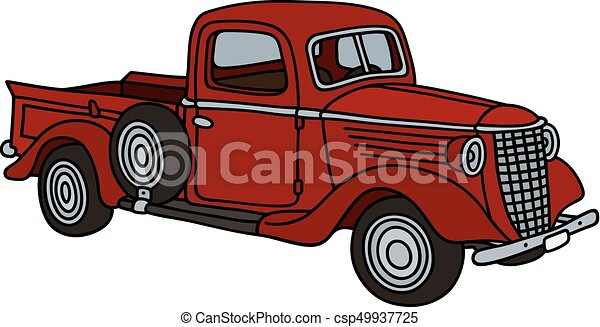 Classic red small truck - csp49937725
