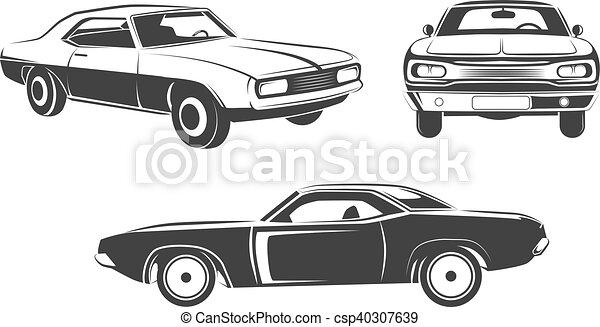 Classic retro muscle cars vector set - csp40307639