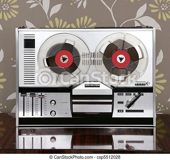 classic retro reel to reel open 60s vintage music - csp5512028