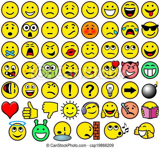 Classic retro style 54 smileys - csp19866209
