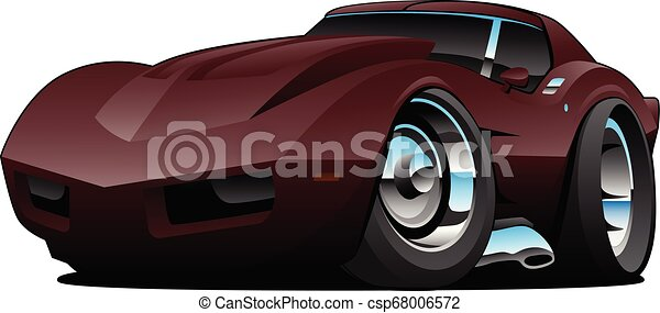 Classic Seventies American Sports Car Cartoon Isolated Vector