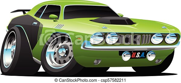 Classic Seventies Style American Muscle Car Cartoon Vector