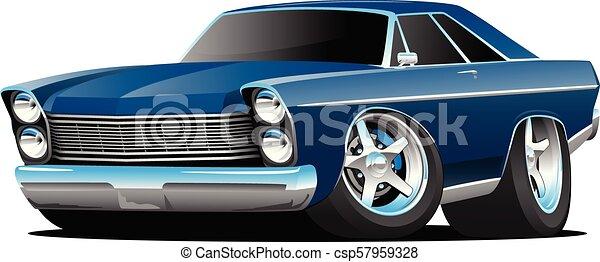 Classic Sixties Style Big American Muscle Car Cartoon Vector Illustration - csp57959328