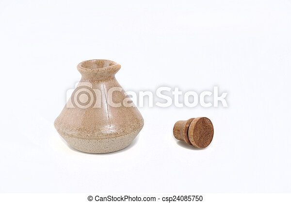 Classic spa clay bottles with cork. - csp24085750