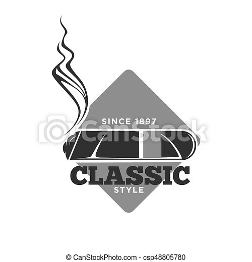 Classic style cigars since 1897 isolated monochrome emblem - csp48805780