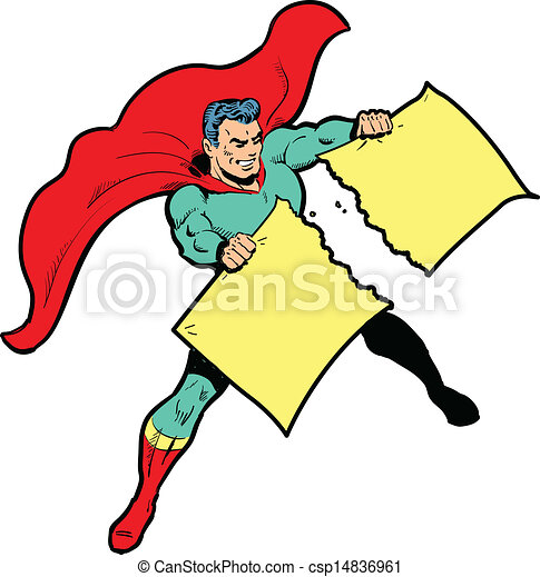 Classic superhero ripping paper or sign in half - csp14836961
