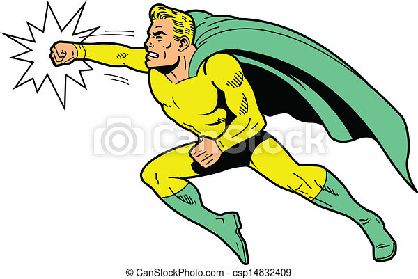 Classic superhero throwing a punch - csp14832409