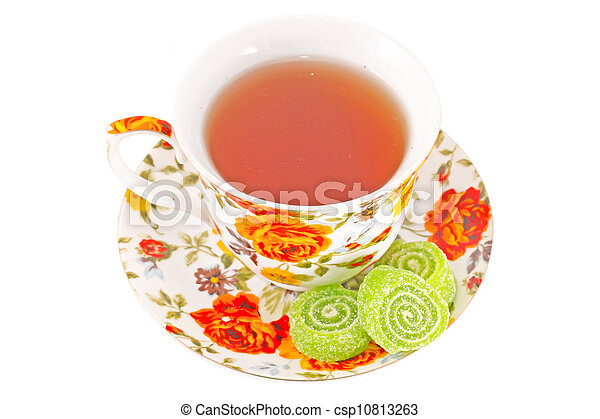 Classic tea cup with red and orange flowers - csp10813263