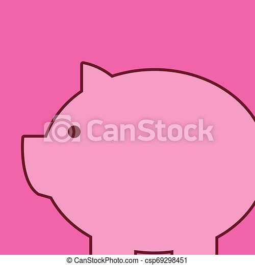 Classic traditional piggy bank animal design look like real pig. Pink swine toy with round and fat body. Imitation of real hog in form of saving money box. - csp69298451