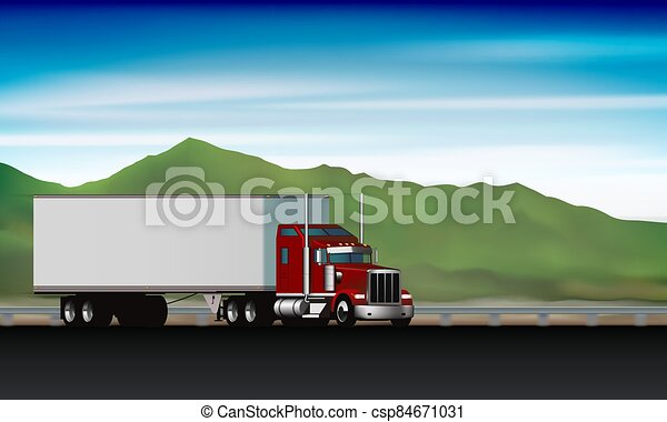 Classic truck driving on highway on background of green hills and sky, big rig semi truck with dry van on the road, vector illustration - csp84671031