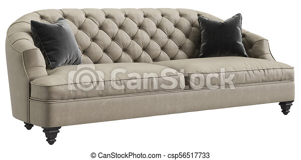 Classic Tufted Sofa Ivory Color With 2 Grey Pillows Isolated On White Background Perspective View Digital Illustration 3d Canstock