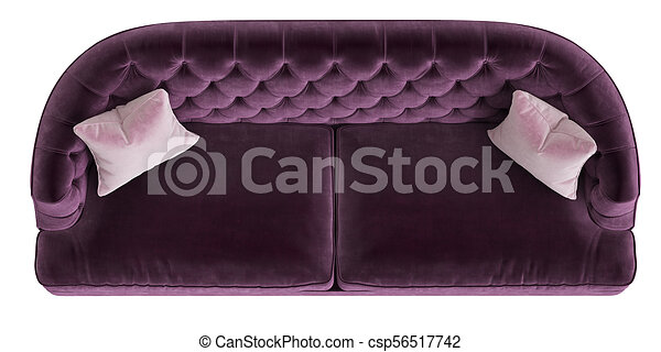 Classic Tufted Sofa Purple Color With 2 Pink Pillows Isolated On White  Background.Top View