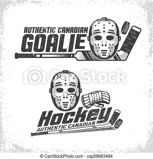 Classic vintage emblems of Canadian hockey with retro goale mask - csp58663494