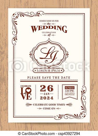 Classic vintage wedding invitation card with brown color border and classic vintage wedding invitation card csp43927294 stopboris Choice Image