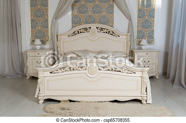 Classic white bedroom furniture - king size bed with bedside tables