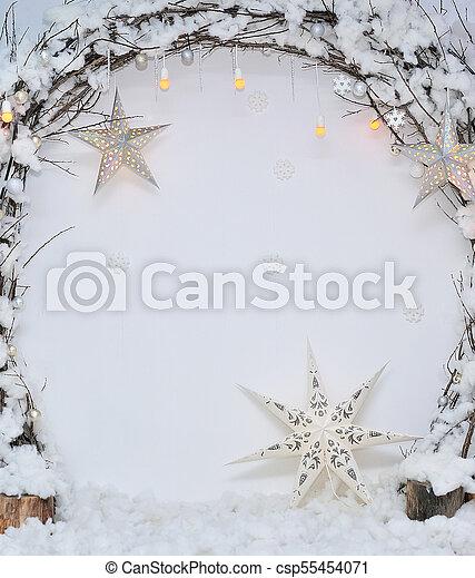 Classic white christmas interior - csp55454071