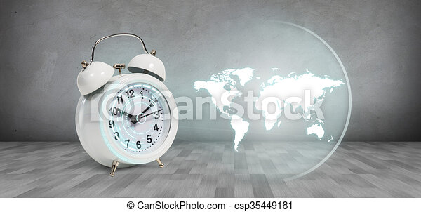 Classical alarm clock project world map on the gray background classical alarm clock project world map csp35449181 gumiabroncs Images