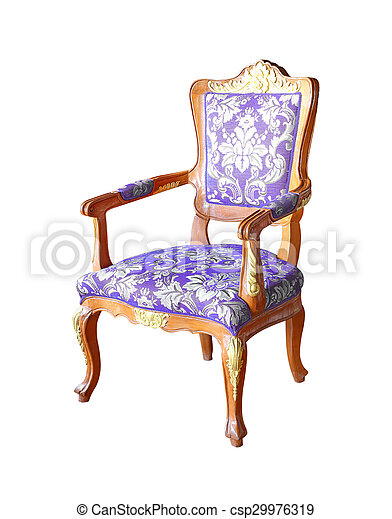 classical carved wooden chair isolated on white background - csp29976319