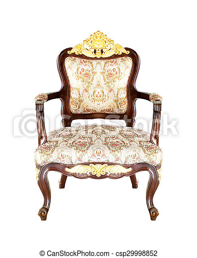 classical carved wooden chair isolated on white background - csp29998852
