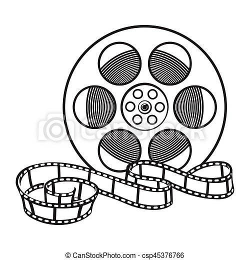 classical motion picture cinema film reel sketch style clip art rh canstockphoto com clipart film reel film reel clipart free