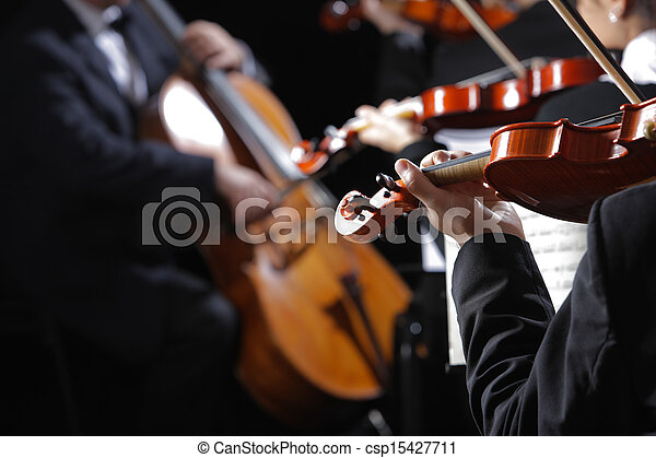Classical music. Violinists in concert - csp15427711