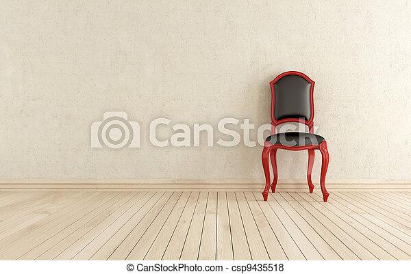classici, εναντίον , μαύρο , τοίχοs , καρέκλα , κόκκινο  - csp9435518