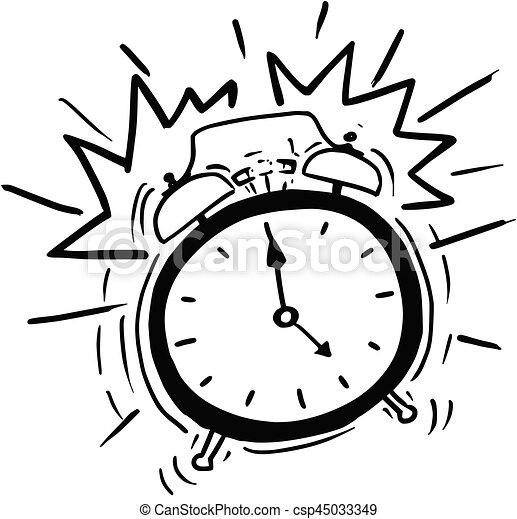 Classicl sonner horloge reveil vecteur dessin anim - Dessin reveil ...