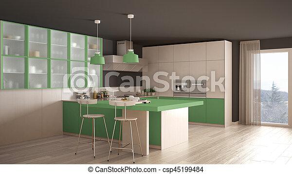 Classico, moderno, pavimento, verde, parquet, disegno interno ...