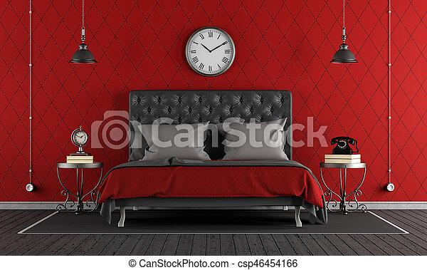 Slaapkamer Rood Zwart.Classieke Zwart Rood Slaapkamer Classieke Dubbel Bed