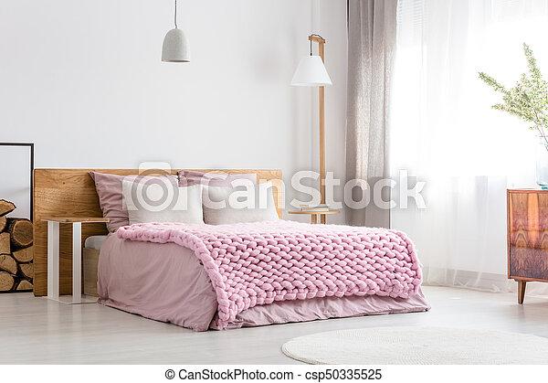 Classique, scandinave, chambre à coucher. King-size, classique ...