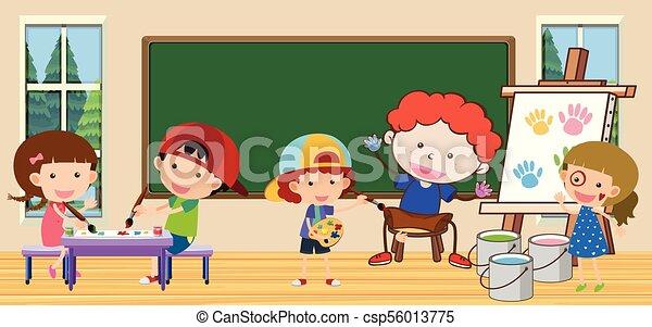 classroom dzieci, nauczyciel - csp56013775