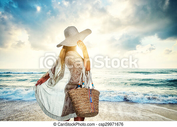 classy young woman relaxing at the beach classy young woman