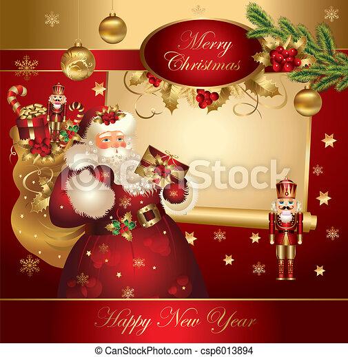 Estandarte de Navidad con Santa Claus - csp6013894