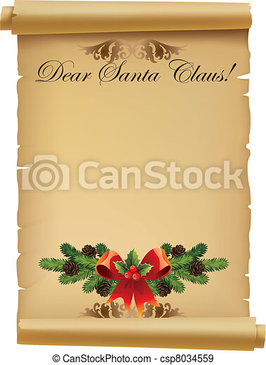 claus, brief, kerstman - csp8034559