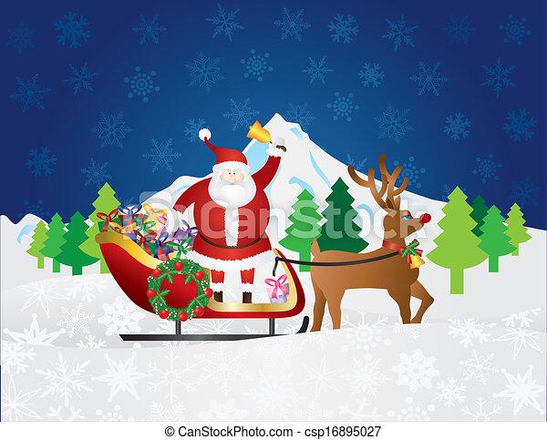 claus, cena neve, presentes, rena, santa, noturna, sleigh - csp16895027