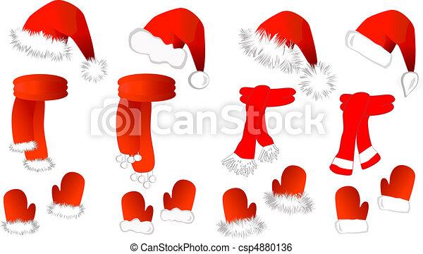 claus, cristmas, set:, santa, mitaines, écharpe, chapeau - csp4880136
