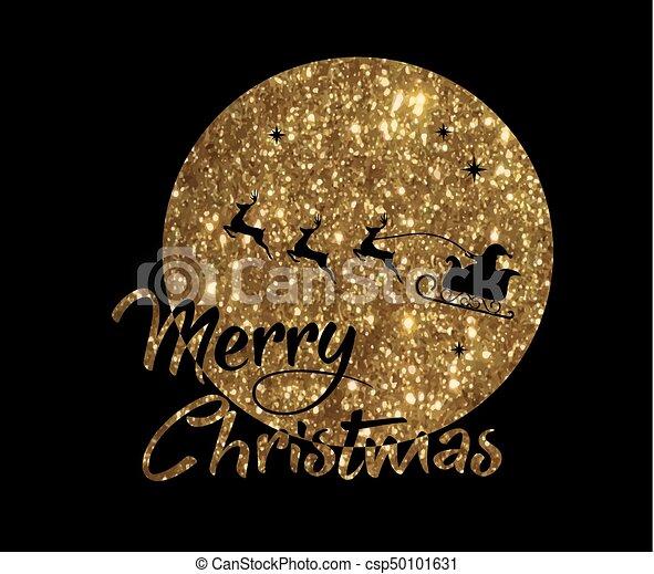 claus, gouden, woord, kerstman, poster, maan, rendier, vrolijk, schitteren, kerstmis - csp50101631
