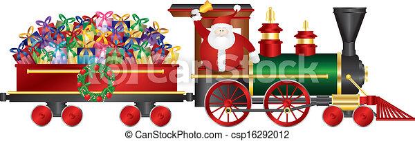Santa Claus en tren entregando regalos ilustrados - csp16292012