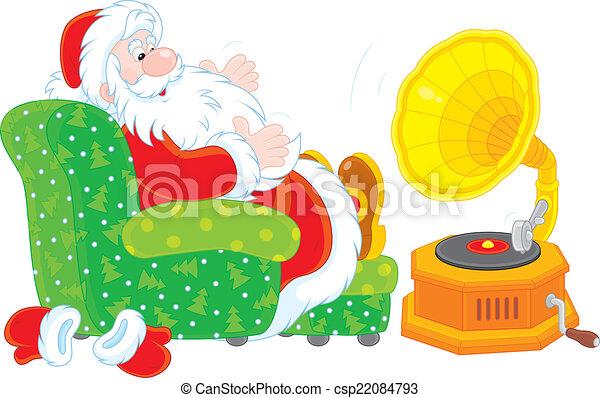 claus, musique, santa, écoute - csp22084793