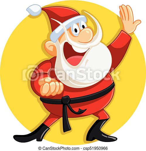 Immagini Karate Natale.Claus Natale Karate Vettore Santa Pronto Cartone Animato