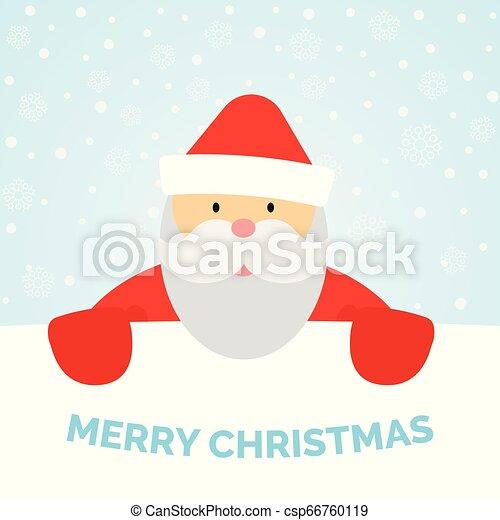 Una tarjeta de felicitación con Santa Claus y nieve cayendo - csp66760119